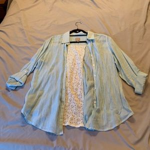 Chicos Striped Blouse with Lace Inset